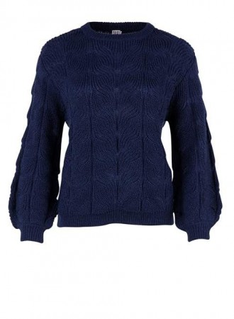 Saint Tropez- Knit Blouse- Navy Blue