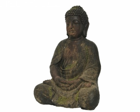Sittende buddha - Brown washed 30 cm