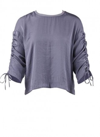 Saint Tropez- Blouse with gather - Dusty blue