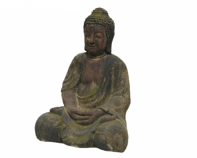 Sittende buddha - Brown washed 41 cm